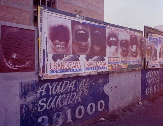 "Graciela Sacco, from the series Boconada, 1994, Heliography printed on individual sheets of paper as part of an ""Urban Intervention"" in the streets of Rosario, Argentina, each sheet 30×22""."