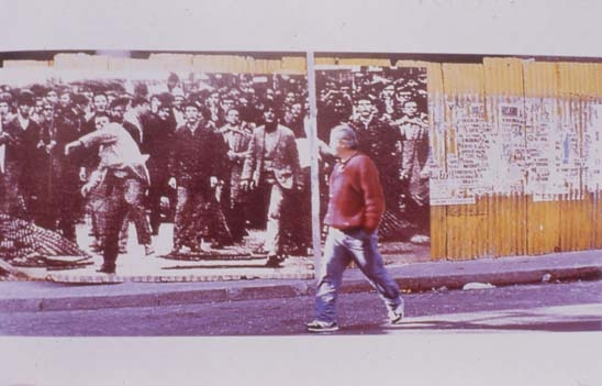 "Graciela Sacco, El incendio y las visperas (The Fire and Its Aftermath), 1996, Heliography printed on paper (billboard) as part of an urban intervention in the streets of Rosario, Argentina, during the 1996 São Paulo Biennial, 7'2"" x 18'."